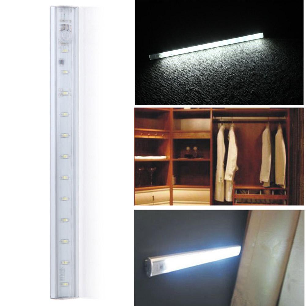 Lixada LED Under Cabinet Light PIR Motion Sensor Lamp Kitchen Wardrobe  Cupboard Closet 30cm
