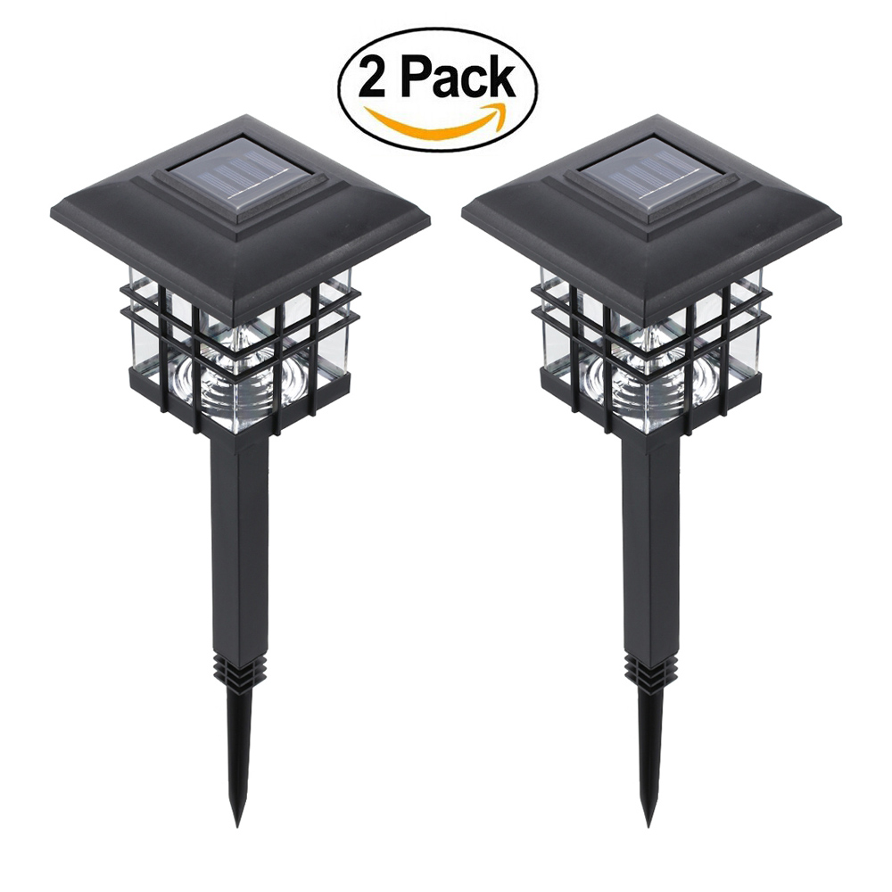Tomshine 0.2 W 2 Pack Solar Powered LED Garden Yard Bollard Pillar Light  Lawn Lamp 2 IN 1 Outdoor Landscape Auto On / Off Post Lamp Water Resistant